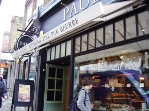 Paul Maison de Qualite where I got hot choc and a choc tart
